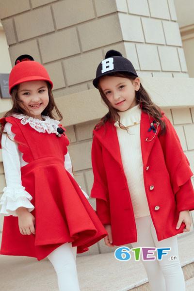 叽叽哇哇童装品牌2017年秋季韩版中长款呢大衣