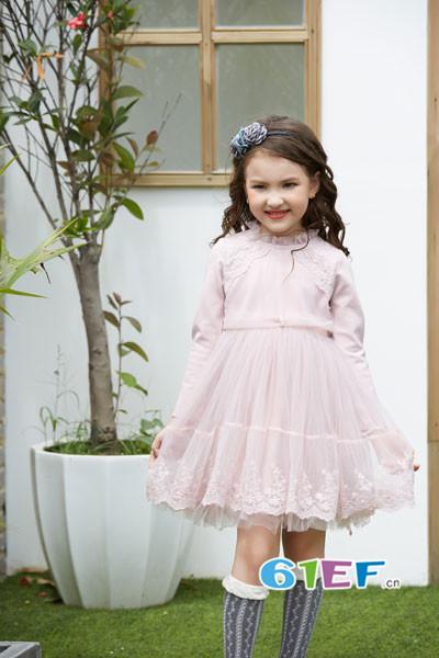 叽叽哇哇童装品牌2017年秋季公主长袖雪纺裙