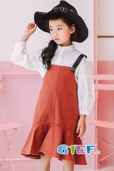 青稚童装品牌2017年秋冬潮童背带牛仔裙