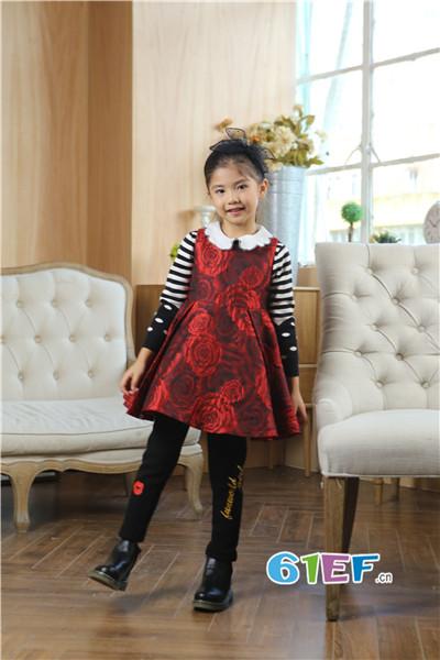 Fun World凡兜童装品牌2017年秋冬公主印花连衣裙