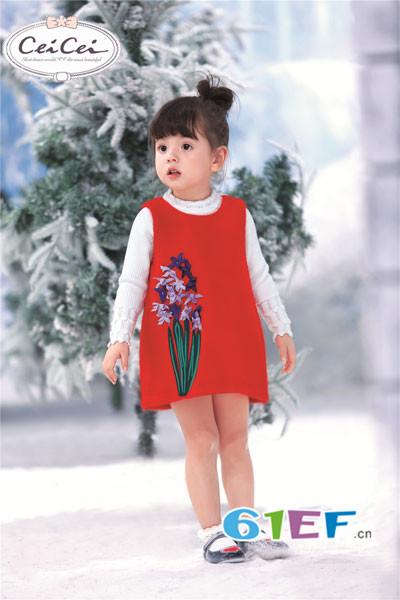 熙熙Ceicei童装品牌2017年秋冬无袖印花连衣裙