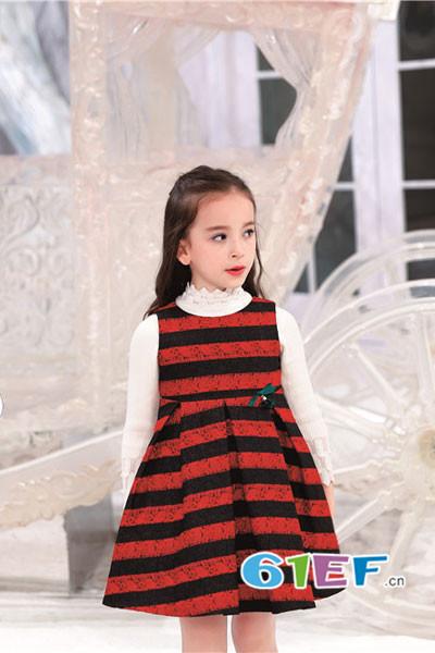 熙熙Ceicei童装品牌2017年秋冬条纹无袖连衣裙