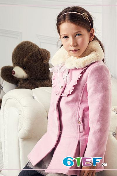 杰米熊童装品牌2017年秋冬韩式女呢子外套