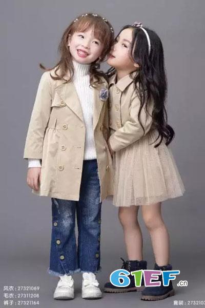 DIZAI童装品牌2017年秋冬欧式中长款女外套