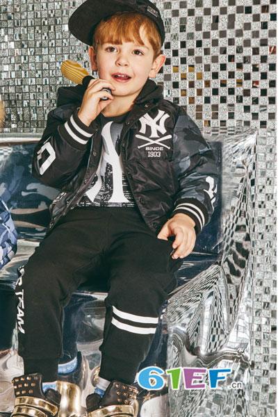 MLBKIDS童装品牌2017年秋季黑色经典棒球服