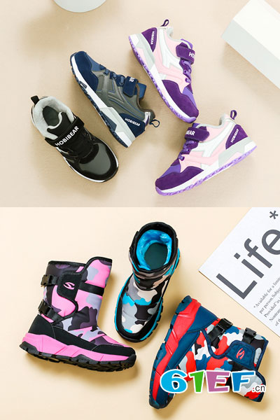 HappyBear哈比熊童鞋品牌2017年秋冬时尚个性保暖雪地靴