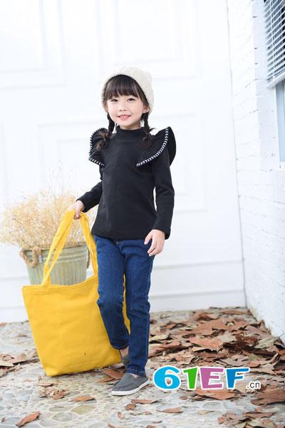 棉花驿站童装品牌2017年秋冬个性时尚荷叶边袖女上衣
