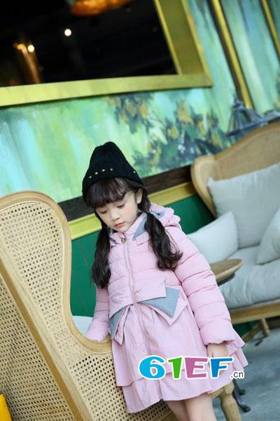 棉花驿站童装品牌2017年秋冬时尚甜美中长款粉色棉衣
