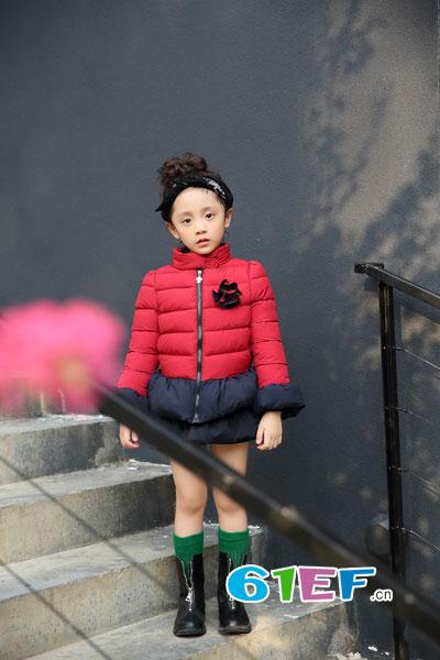 棉花驿站童装品牌2017年秋冬时尚韩式红色女棉衣