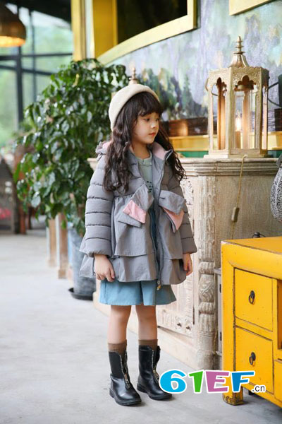 棉花驿站童装品牌2017年秋冬时尚甜美中长款女棉衣