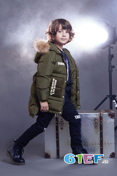 YukiSo童装品牌2017年秋冬中长款休闲男棉衣