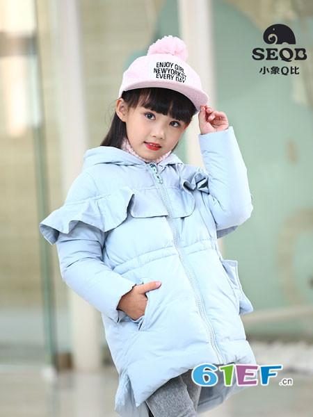 小象Q比童装品牌2017年秋冬时尚荷叶边中长款女棉衣