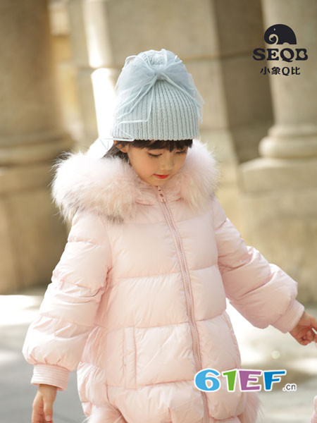 小象Q比童装品牌2017年秋冬甜美优雅中长款粉色棉大衣
