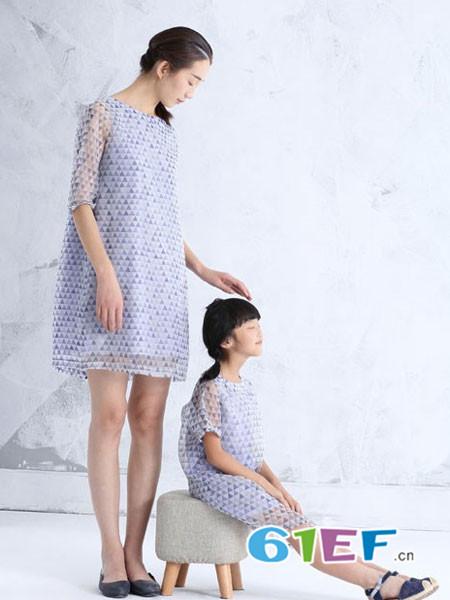 布景亲子雪纺淡紫色连衣裙