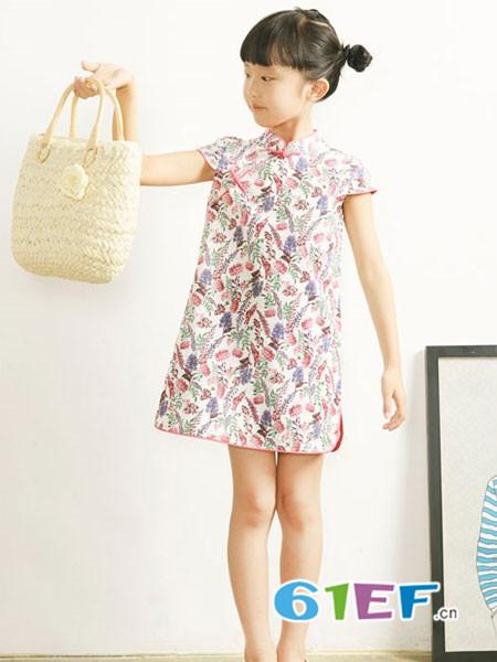 布景亲子复古花纹套头裙