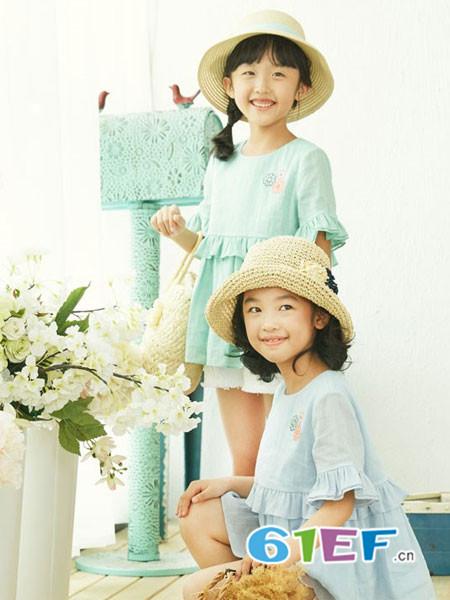 布景亲子时尚甜美花边袖连衣裙