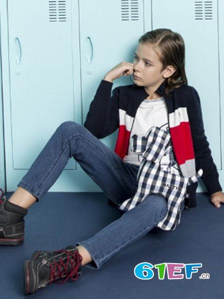 哈吉斯童装品牌2017年秋冬时尚休闲撞色针织女外套