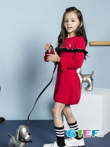 哈吉斯童装品牌2017年秋冬时尚甜美花边袖连衣裙