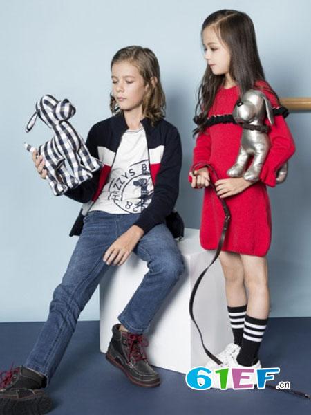 哈吉斯童装品牌2017年秋冬时尚休闲撞色针织女外套花边袖连衣裙