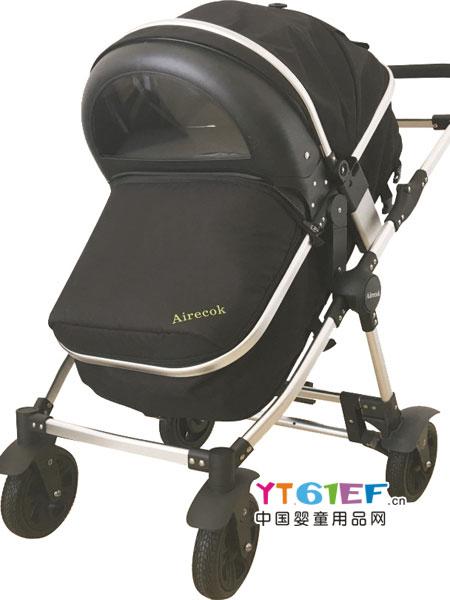 爱瑞可童车类智能空气净化防雾霾婴儿车/手推车(黑色款)