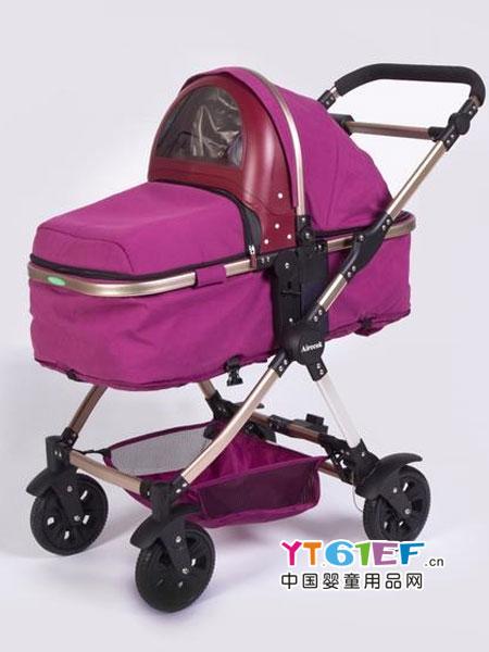 爱瑞可童车类智能空气净化防雾霾婴儿车/手推车(红色款)