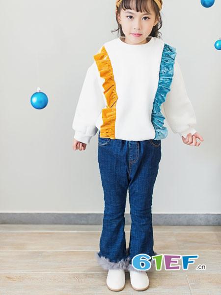 K.Body℃/宝贝衣舍童装品牌2017年秋冬两色花边时尚女卫衣