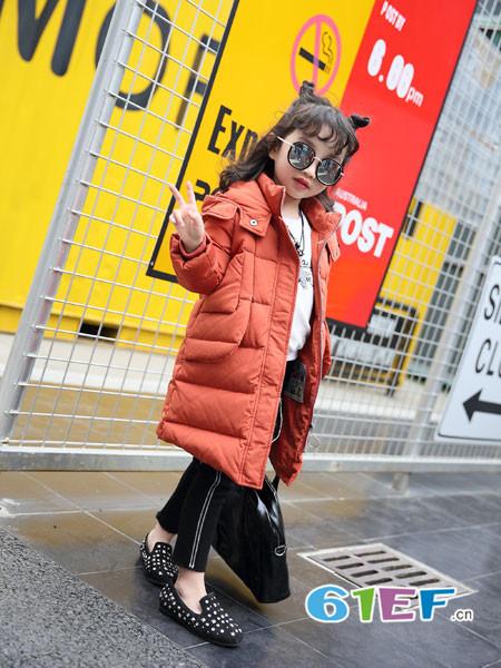 加菲A梦童装品牌2017年秋冬时尚休闲中长保暖棉大衣