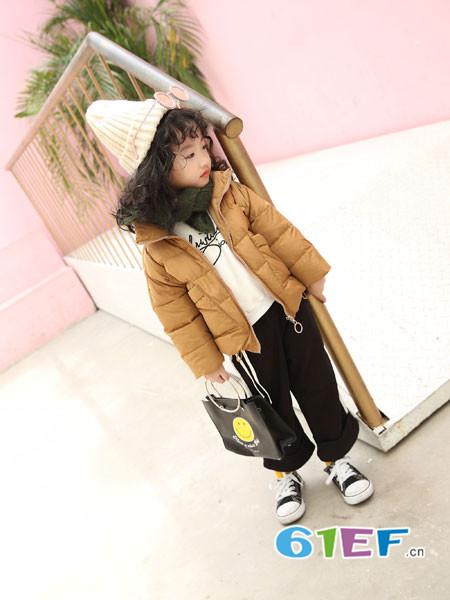 加菲A梦童装品牌2017年秋冬短款宽松面包服棉服韩版外套
