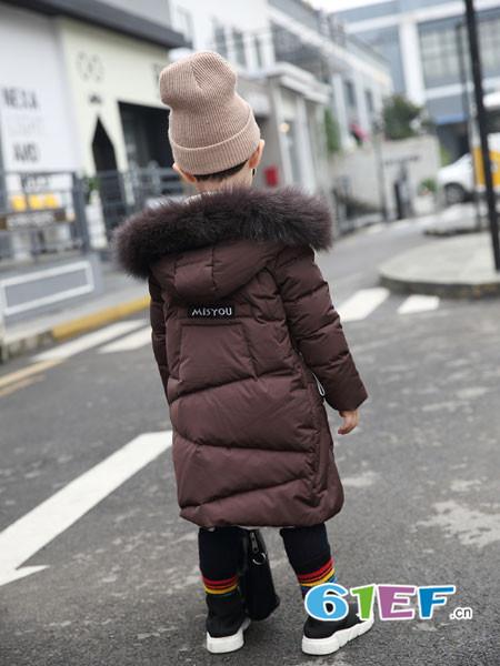 加菲A梦童装品牌2017年秋冬时尚休闲中长保暖棉男大衣