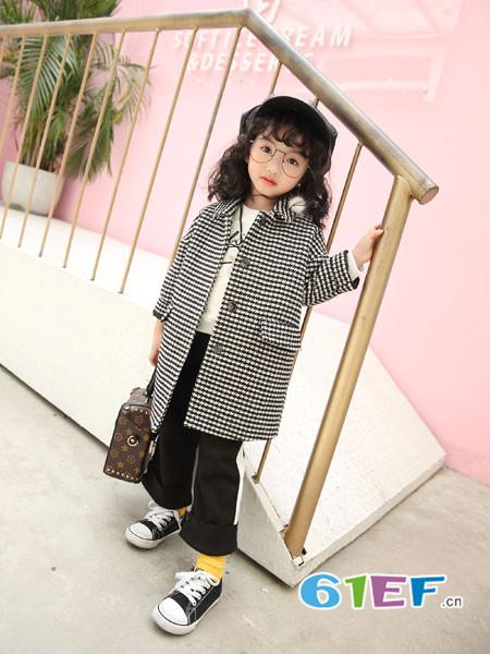 加菲A梦童装品牌2017年秋冬时尚优雅条纹中长呢子女外套