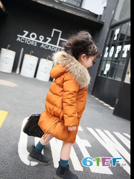 加菲A梦童装品牌2017年秋冬中长款韩版收边羽绒服