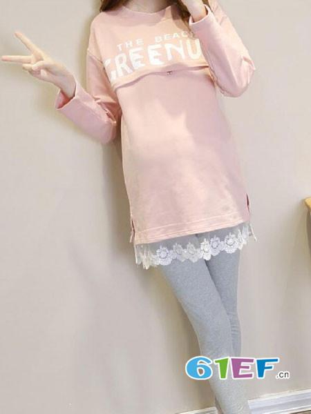 圣昊孕妇品牌2017年秋冬时尚优雅蕾丝花边中长上衣
