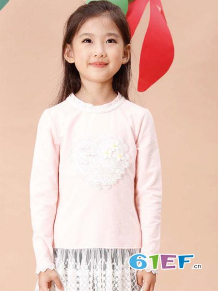 班吉鹿banjilu童装品牌2017年秋冬刺绣图案圆领长袖毛衣上衣