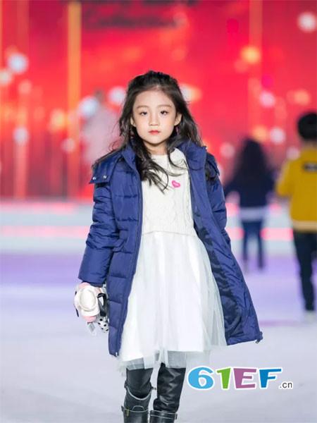 泰迪珍藏童装品牌2017年秋冬时尚休闲中长保暖女棉衣外套