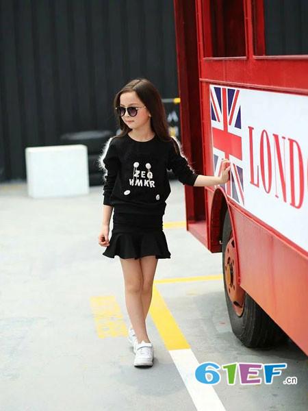 下一个奇迹童装品牌时尚休闲字母女毛衣