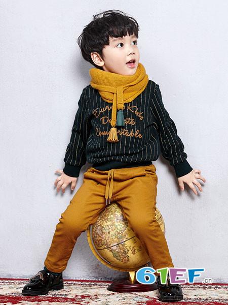 恰贝贝童装品牌2017年秋冬时尚休闲条纹男卫衣-恰贝贝2018童装品牌图片