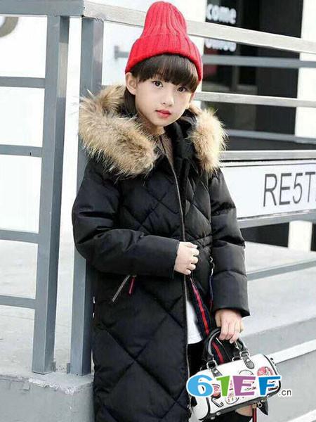 凡克猫童装品牌2017年秋冬韩式休闲保暖女中长面包服棉衣外套