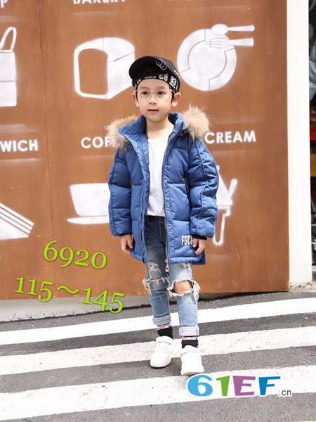 凡克猫童装品牌2017年秋冬韩式时尚字母休闲保暖男棉衣外套