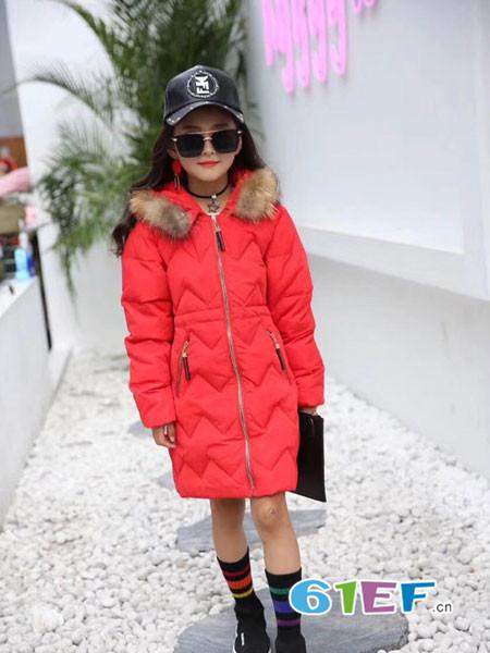 凡克猫童装品牌2017年秋冬韩式休闲保暖女中长棉衣外套
