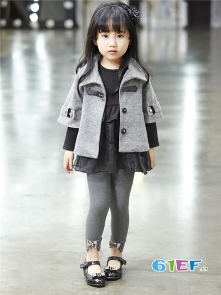 布衣班纳童装品牌2017年秋季韩式七分袖呢子外套