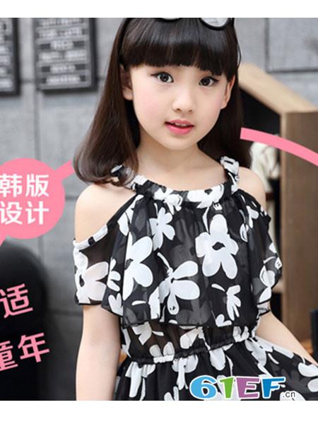 小熊空间童装品牌雪纺碎花露肩女裙