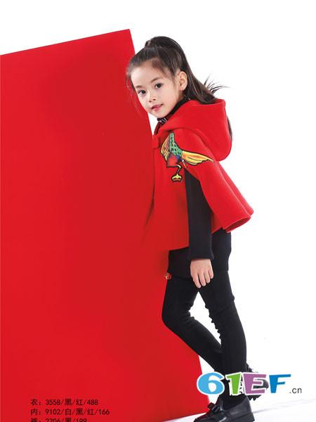 KIKI小鬼当家童装品牌2017年秋冬韩式印花连帽斗蓬外套