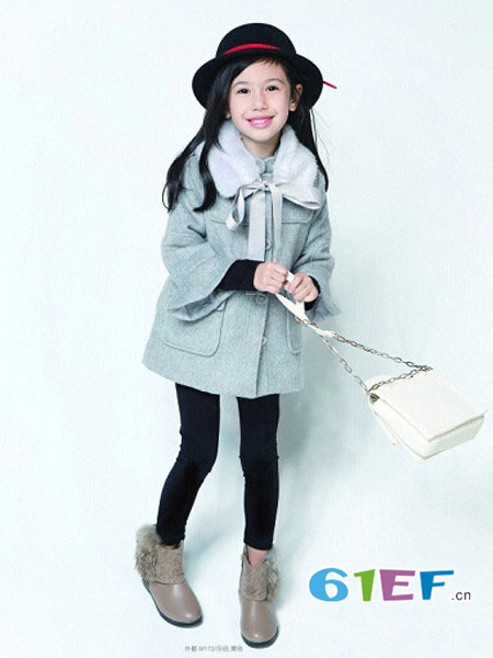巴布兔童装品牌2017年秋冬韩式毛领优雅呢子中长女外套