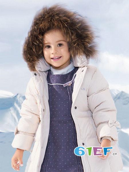 哥比兔童装品牌2017年秋冬长毛连帽中长男女童羽绒服外套