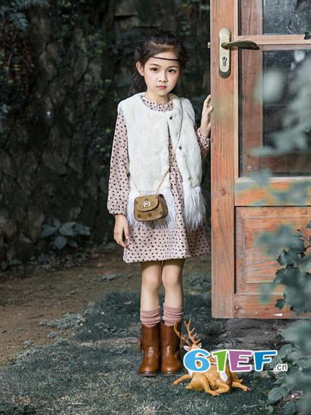 琦瑞德泽童装品牌2017年秋冬时尚百搭休闲毛绒女马夹外套
