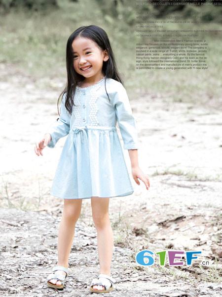 ANNESPET童装品牌2018年春夏韩式优雅长袖收腰女连衣裙