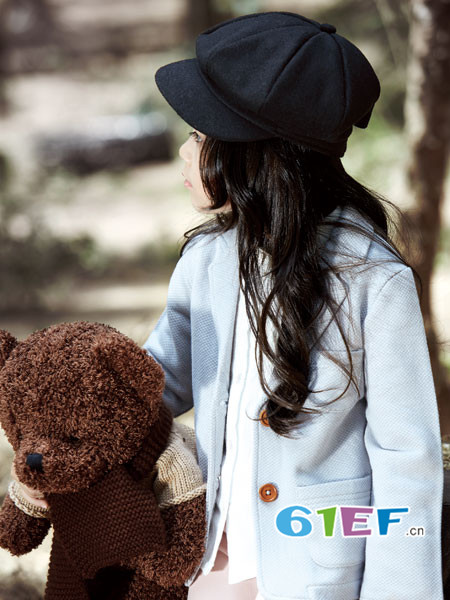 ANNESPET童装品牌2018年春夏欧式优雅西装领呢子女外套