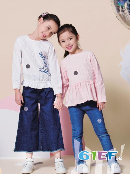 伊佳林IKALI童装品牌2017年秋冬韩式花边长袖女T恤