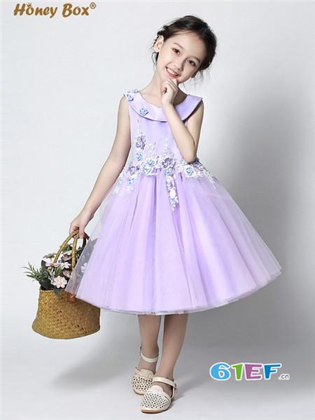 蜂蜜箱子童装品牌蕾丝小礼服夏装童装显瘦晚宴会连衣裙