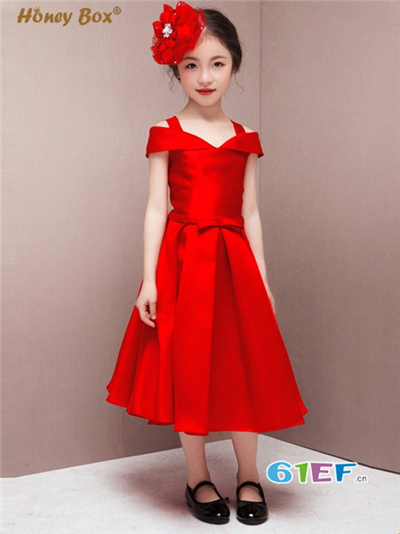 蜂蜜箱子童装品牌韩版小公主红色跳舞裙